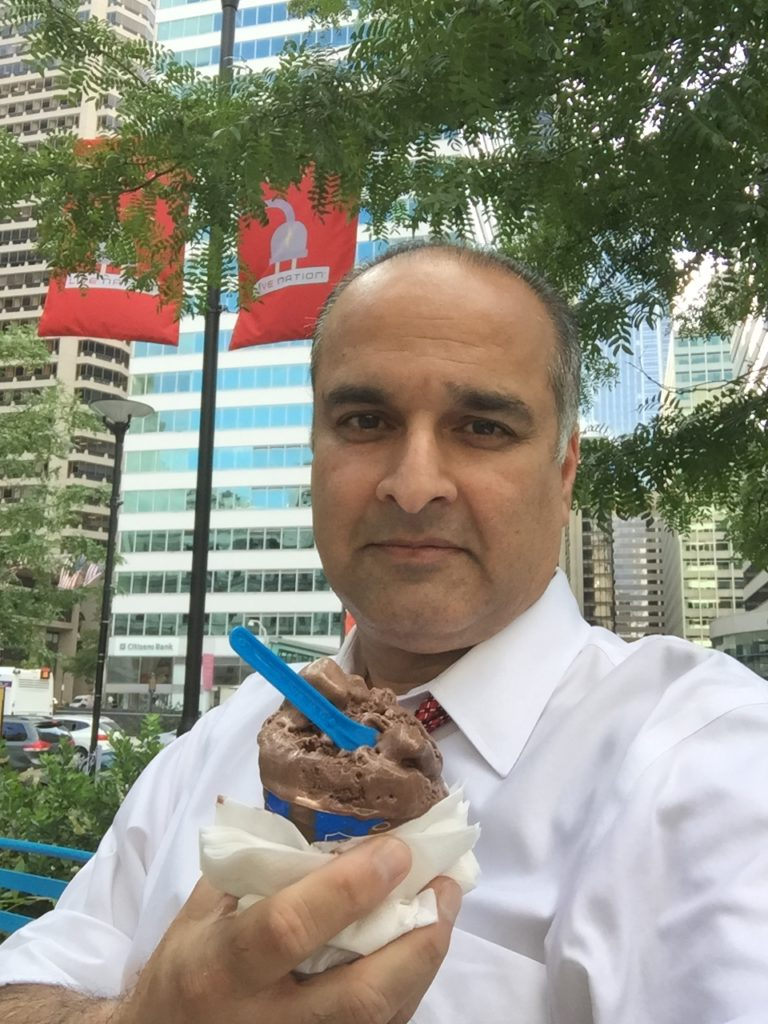 Enjoying gelato at City Hall, Philadelphia (August, 2016)